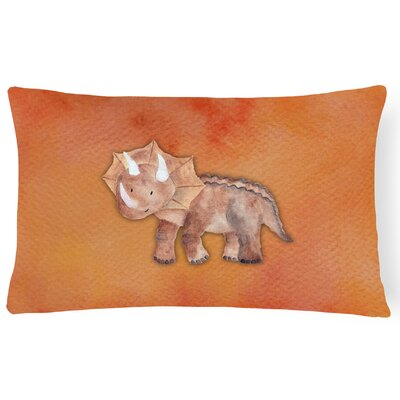 Sandy Triceratops Watercolor Lumbar Pillow