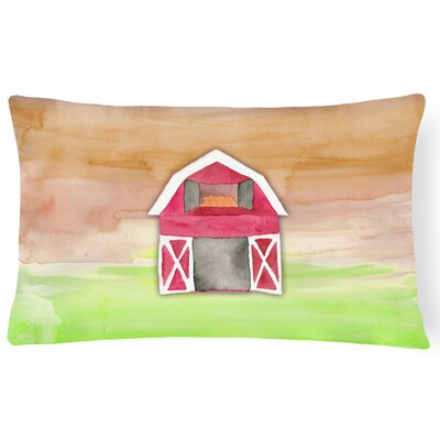 Selena Barn Watercolor Lumbar Pillow