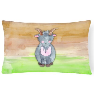 Travon Goat Watercolor Lumbar Pillow