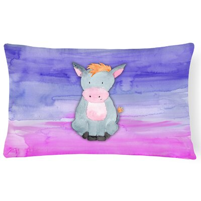 Tricia Donkey Watercolor Lumbar Pillow