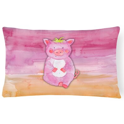 Trina Pig Watercolor Lumbar Pillow