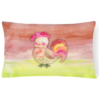 Trinity Rooster Watercolor Lumbar Pillow