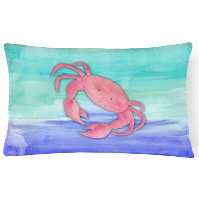 Trudy Crab Watercolor Lumbar Pillow