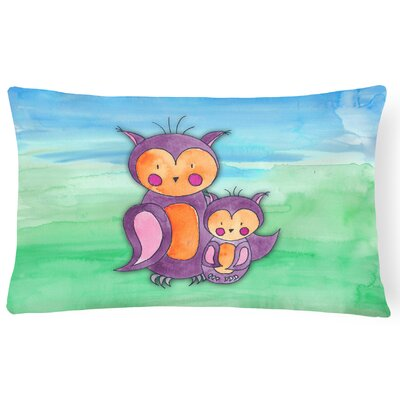 Velma Momma and Baby Owl Watercolor Lumbar Pillow