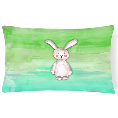 Violet Bunny Rabbit Watercolor Lumbar Pillow