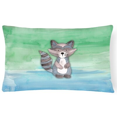 Virginia Raccoon Watercolor Lumbar Pillow