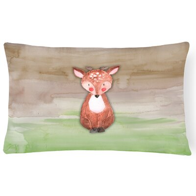 Wayne Baby Deer Watercolor Lumbar Pillow