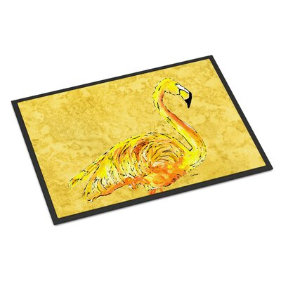 Flamingo on Yellow Doormat Mat Size: Rectangle 16 x 2 3