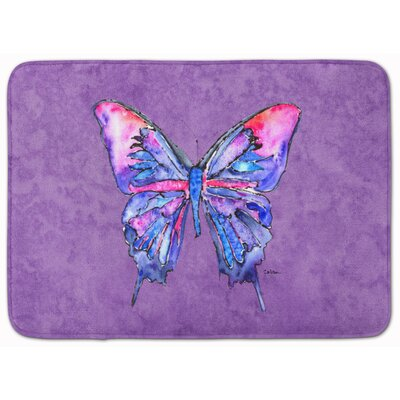 Butterfly Memory Foam Bath Rug Color: Purple
