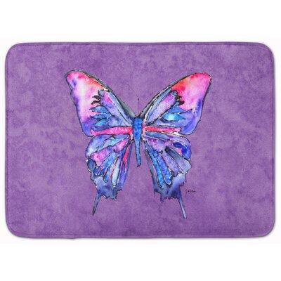 Butterfly Memory Foam Bath Rug Color: Purple