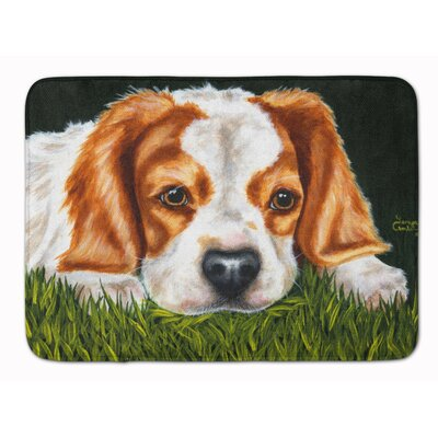 Cavalier Spaniel in the Grass Memory Foam Bath Rug