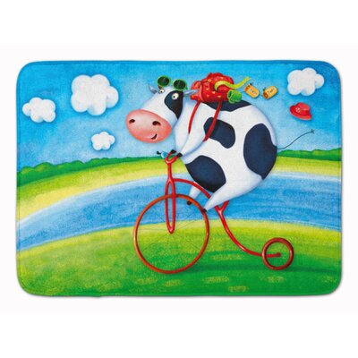 Cow Riding Bicycle Memory Foam Bath Rug