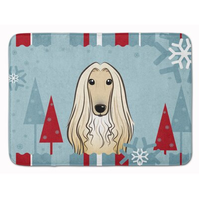 Winter Holiday Afghan Hound Memory Foam Bath Rug