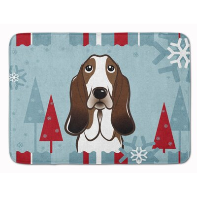 Winter Holiday Basset Hound Memory Foam Bath Rug