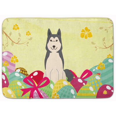 Easter Eggs West Siberian Laika Spitz Memory Foam Bath Rug