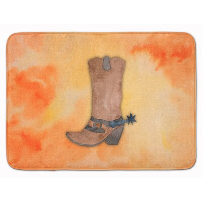 Cowboy Boot Watercolor Memory Foam Bath Rug