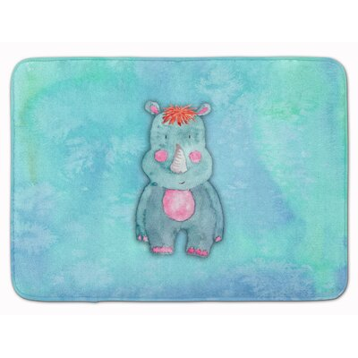 Bettye Rhinoceros Watercolor Memory Foam Bath Rug