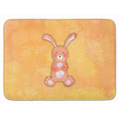 Beulah Rabbit Watercolor Rectangle Memory Foam Bath Rug