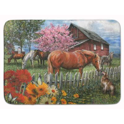 Horse Chatting with The Neighbors Memory Foam Bath Rug