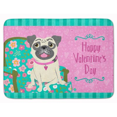 Happy Valentines Day Pug Memory Foam Bath Rug