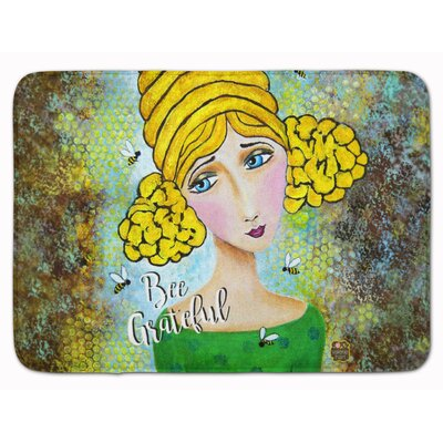 Bee Grateful Girl with Beehive Memory Foam Bath Rug