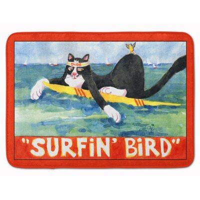 Cat Surfin Bird Memory Foam Bath Rug