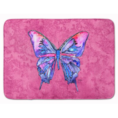 Butterfly Memory Foam Bath Rug Color: Pink