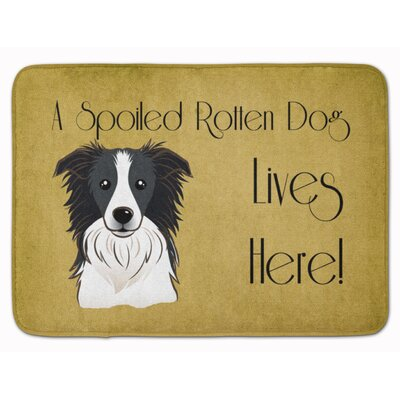 Border Collie Spoiled Dog Lives Here Memory Foam Bath Rug