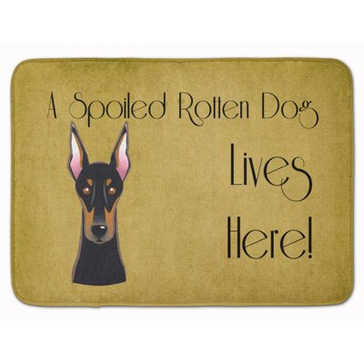 Doberman Spoiled Dog Lives Here Memory Foam Bath Rug