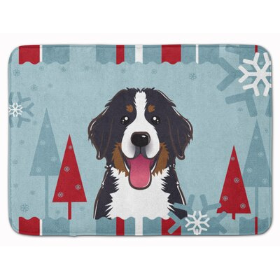 Winter Holiday Bernese Mountain Dog Memory Foam Bath Rug
