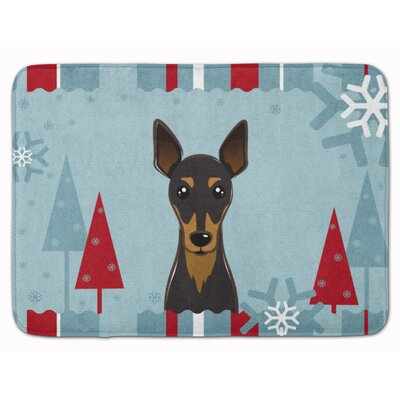 Winter Holiday Min Pin Memory Foam Bath Rug