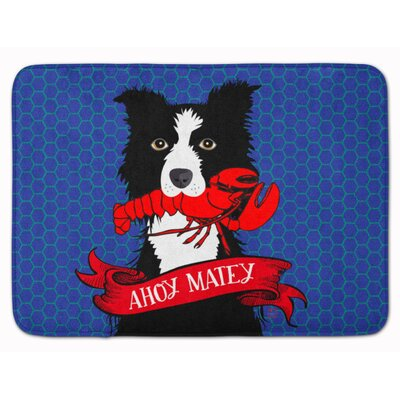 Ahoy Matey Nautical Border Collie Memory Foam Bath Rug