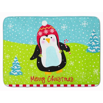 Merry Christmas Happy Penguin Memory Foam Bath Rug