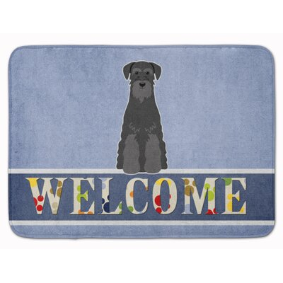 Standard Schnauzer Welcome Memory Foam Bath Rug Color: Black