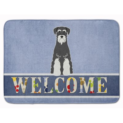 Standard Schnauzer Welcome Memory Foam Bath Rug Color: Black/White