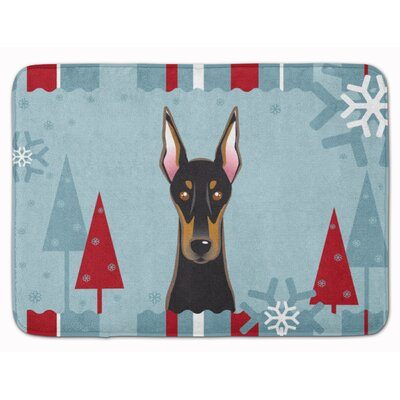 Winter Holiday Doberman Memory Foam Bath Rug