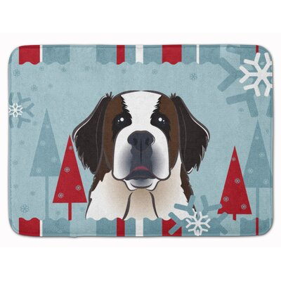 Winter Holiday Saint Bernard Memory Foam Bath Rug