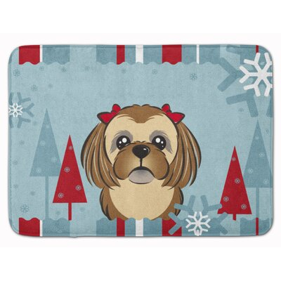 Winter Holiday Shih Tzu Memory Foam Bath Rug
