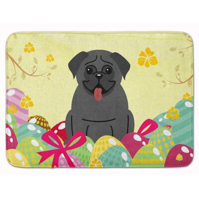 Easter Eggs Pug Cream Memory Foam Bath Rug Color: Black