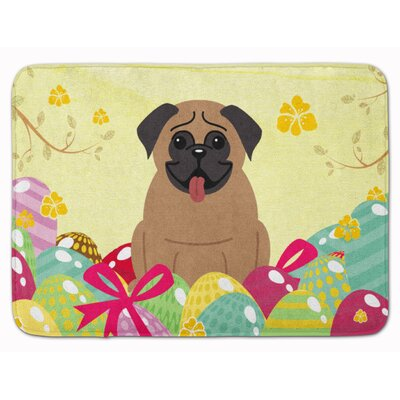 Easter Eggs Pug Cream Memory Foam Bath Rug Color: Brown