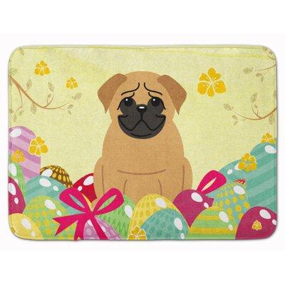 Easter Eggs Pug Brown Memory Foam Bath Rug Color: Brown