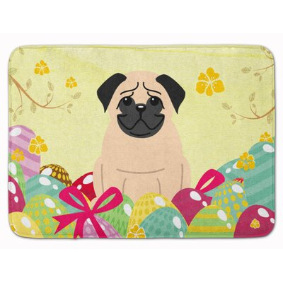 Easter Eggs Pug Brown Memory Foam Bath Rug Color: White