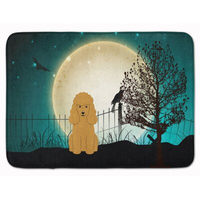 Halloween Scary Poodle Memory Foam Bath Rug Color: Tan