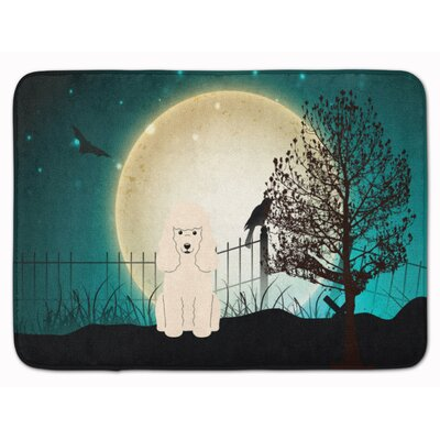 Halloween Scary Poodle Memory Foam Bath Rug Color: White