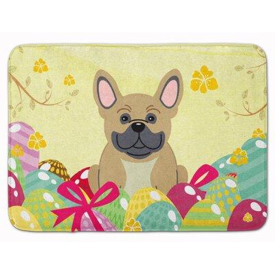 Easter Eggs French Bulldog Brindle Memory Foam Bath Rug Color: Cream