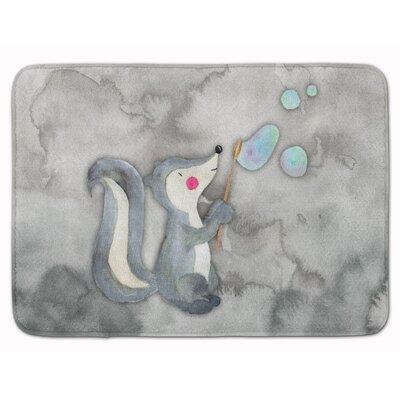 Skunk and Bubbles Watercolor Memory Foam Bath Rug