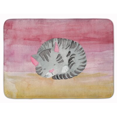 Sleeping Cat Watercolor Memory Foam Bath Rug