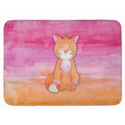 Yolanda Orange Cat Watercolor Memory Foam Bath Rug