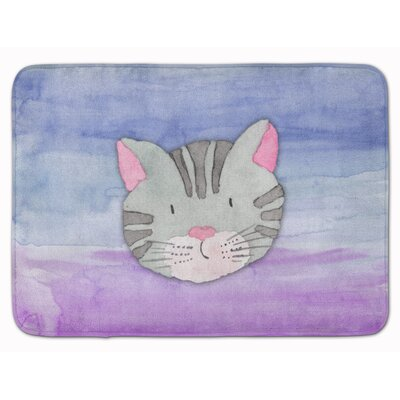 Cat Face Watercolor Memory Foam Bath Rug