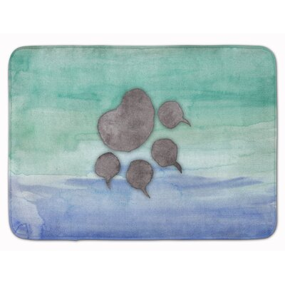 Cat Paw Watercolor Memory Foam Bath Rug